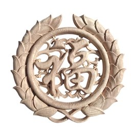 Wholesale Carved Doors - Retro Round Woodcarving Decal Unpainted Wooden Carved Furniture Bed Door Applique Wall Cabinet Decor Crafts JC0531
