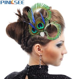 Wholesale Peacock Feather Hair Jewelry - 1 pc Brand Design Peacock Feather Rhinestones Wedding Hair Clip For Women Chic Dance Party Hairpin Jewelry Accessories