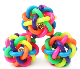 Wholesale Rubber Toys For Small Dogs - 6cm 2.4inch Colorful Ball Dog Toys Muliticolor Rubber Round Ball with Small Bell Sound Toys for Small Dogs Puppy Pet Chewing Ball
