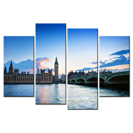 Wholesale River Digital - The Thames River Scenery Canvas Printing Picture The Big Ben Giclee Artwork Decorative Canvas Prints for Home and Office 4 Panels