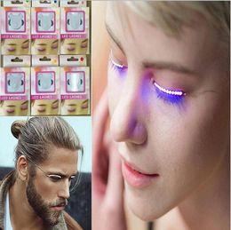 Wholesale Led Eyes Halloween - False Eyelashes Luminous Eyes Party Nightclub Halloween LED Strips False Eyelash Sticker 3D LED False Eyelashes