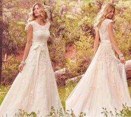 Wholesale Modest Wedding Dress Organza - 2017 Modest Cap Sleeve A Line Wedding Dresses Tulle Summer Bohemian Vintage Lace with Ribbon Vestido Bridal Gowns De Novia Robe De Mariage