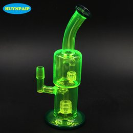 "Wholesale Double Layer Glass Filter - 10.6"" inches colorful bong Fluorescent green glass bong double layer Filters glass water pipes Weight 455g Jiont 18.8MM Free Shipping"