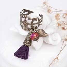 "Wholesale Bronze Wedding Anniversary - 8SEASONS Handmade Fashion Adjustable Hollow Rings Antique Bronze With Faceted Red Beads Purple Tassel Pendant 16.7mm( 5 8"") 6.25"