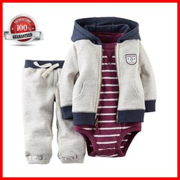 Wholesale Wear Summer Clothes For Winter - Jumpsuit Baby Romper Baby Clothing Set Suit hooded hoodies sweate for children in Autumn and Winter wear three piece per suit ouc026
