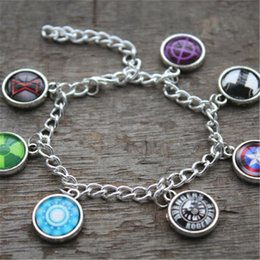 Wholesale Cabochon Glass Color - 6pcs lot All Avengers Bracelet Glass cabochon bracelets Charm bracelets in silver color