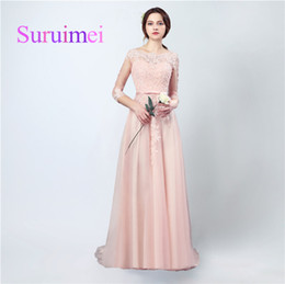 Wholesale Evenning Gowns - Free Shipping Spring Summer Evenning Long Dresses Scoop Zipper With Appliqued Lace Sash Pleats And Sweep Train Prom Gowns