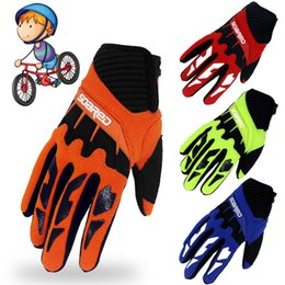 Wholesale Kid S Gloves - 4Colors Children Kids Sports Gloves Adjustable Autumn Winter Full Finger Bicycle Riding Ciclismo Anti-slip Cycling Skateboards 3-12 age