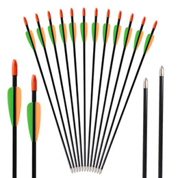 Wholesale fiberglass arrows - 12pcs Huntingdoor Fiberglass Arrows 28 Inch Fixed Points Hunting and Shooting Target Arrows for Children Youth Recurve Bow & Compound Bow