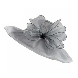 e49f8ff0800 Elegant Fashion Women s Church Hats For Women Flower Hat Summer Sun Hat  Wedding Wide Brim Sea Beach Caps