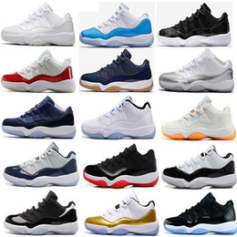Wholesale Basketball Shoes - 2017 air retro 11 Basketball Shoes men women Low navy Gum Blue Metallic Gold Barons university blue concord Varsity Red Space Jam Sneakers