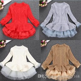 Wholesale Knitting Dresses For Girls - 4 colors INS styles new Girl kids autumn winter Princess organza silk dress cotton knitted long sleeves for children fashion elegant dress