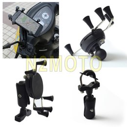 Wholesale Gps Car Protection - Wholesale- car Mobilephone Clamp Bracket Motorcycles X-Grips Phone Holder GPS DVR Holder MTB Bicycle Handlebar Mount With Strap Protection