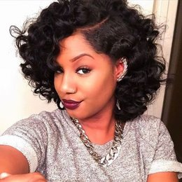 Wholesale Pic Large - 250% density wavy curly bob lace frontal wig 14inch pre plucked lace front wig human hair exactly same with pic