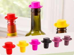 Wholesale Wholesale Kitchen Hats - 100pcs lot Hat Shape Silicone Wine Bottle Stopper Preservation Wine bottle Stoppers Kitchen Wine Champagne Stopper
