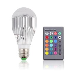 Wholesale 9w Color Changing Led Bulb - Wholesale-Wholesale E27 9W Remote Control Color Changing LED Light Bulb RGB Color Lamp 100 - 240V