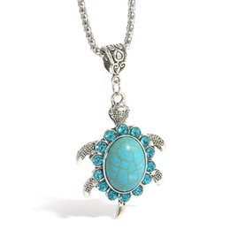 Wholesale turquoise turtle jewelry - Tibetan Silver Tone Turquoise Turtle Necklace Natural Stone Jewelry Christmas Gift For Women DHL Free Shipping