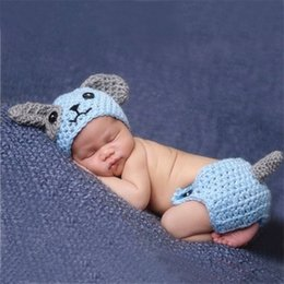 Wholesale Crochet Diapers - Cute Puppy Dog Newborn Baby Boys Photography Props Knitted Infant Animal Costume Boys Outfits Crochet Baby Hat Diaper Set Blue