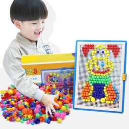Wholesale Intellectual Toys - 296pcs Mosaic Picture Puzzle Toy Children Composite Intellectual Educational Mushroom Nail Kit Toys Development of intellectual toys