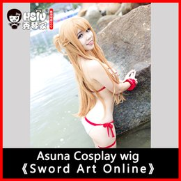 Wholesale Play Swords - asuna costume HSIU 100cm long wig Sword Art Online Cosplay Wig Asuna Costume Play Wigs Halloween party Anime Game Hair High Quality