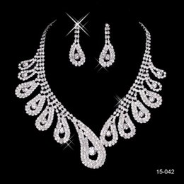 Wholesale Wedding Womens - 15042 Cheap Hot Sale Womens Bridal Wedding Pageant Rhinestone Necklace Earrings Jewelry Sets for Party Bridal Jewelry