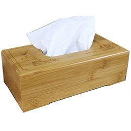 Wholesale Rustic Tissue Box - Wholesale- Rustic bamboo tissue box cover wood drawer Quality flip type home decoration vintage Creative napkin holder for paper towels