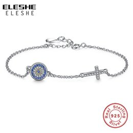 Wholesale Evil Eye Gold Charms - ELESHE Authentic 925 Sterling Silver Chain Bracelet Bangle Blue Rhinestone Evil Eye&Crystal Cross Charms Bracelet Women Jewelry
