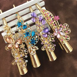 Wholesale Hairpin Rhinestone Gripper - Hair accessories hairpin Crystal Rhinestones Peacock Hairpin Hair Clip Jewelry gripper Women Ladies Gold clip bangs wholesale