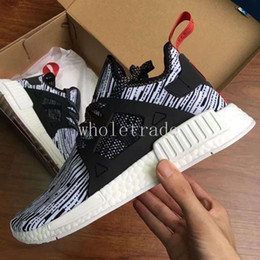 Wholesale Kids Canvas Sneakers - Free Shippping NMD XR1 Primeknit Glitch Pack Core Black White Running Shoes For Womens Mens Kids nmds sneakers for sale With Shoes Box