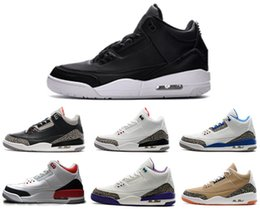 Wholesale Black Cement - High quality 3 3s basketball shoes OG true blue Cyber Monday fire red wolf grey Black Cement True wool sports sneaker eur 41-47