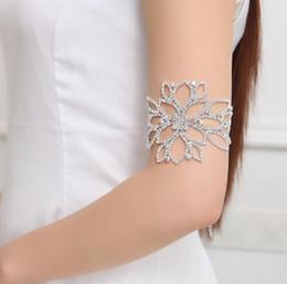 Wholesale wholesale fashion jewelry rhinestone bangles - Fashion Rhinestone Crystal Arm Bracelet Big Flower Floral Bridal Ankle Bracelets & Bangles Hand Chain Jewelry Accessory