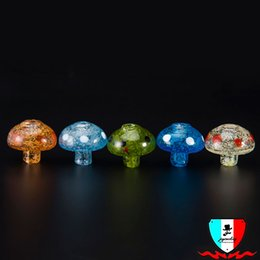 Wholesale Glow Dark Glasses Wholesale - DHL Glow In Dark Colorful New style Universal Solid Glass Carb Cap Dome for Glass Water Pipes Dab Oil Rigs Quartz banger Nails