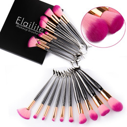 Wholesale Deluxe Makeup - 10pcs Mermaid Makeup Brushes Foundation Cosmetic Soft Blush Face Powder Deluxe Black Make Up Brush Tools Kit with Box