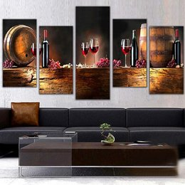 Wholesale Wine Canvas Painting - Modern 5pcs Canvas Wall Paintings Fruit Grape Red Wine Glass Picture Canvas Prints Painting for Kitchen Dining Room Home Decor