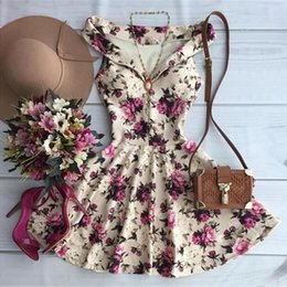 Wholesale Girls Sexy Night Dress - Wholesale- Summer Vintage Floral Print Mini Dress For Cute Girl 2016 Fashion Sexy Women V-neck Sleeveless Party Dress Vestidos Curto