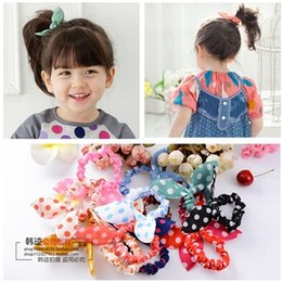 Wholesale hair rubber small - Wholesale- 10 Pcs lot New Arrival Mini Small Bunny Rabbit Ears Headband Hair Rope Rubber Bands Baby Girls' Kids Cute hair Accessories