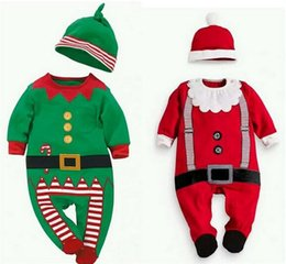 Wholesale Girls E Clothing - 2017 Christmas Boys Girls Baby Footies Jumpsuits Clothing Sets e Xmas Toddler Rompers Cute Santa Infant Onesies Wrap Foot Romper Clothes