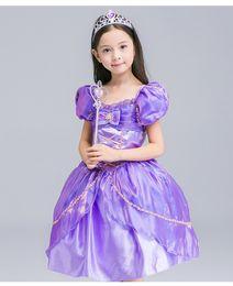 Wholesale Short Wedding Costumes - girl wedding dress princess dresses girl rapunzel costume kid rapunzel dress Princess costume girl party dress