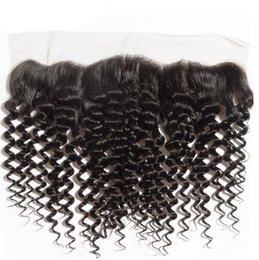 """Wholesale Hair Color Edges - 13""""x4"""" Brazilian Lace Frontal Closure With Edge Deep Curl Ear To Ear Lace Frontals Closure With Baby Hair Bleached Knots"""