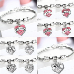 Wholesale Baby Crystal Bangle - 60PCS Pink Clear Crystal Heart Baby Little Middle Big Sister Sis My Girl Knit Family Bracelet Girls Gifts Wristbands Rhinestone Bangle F250
