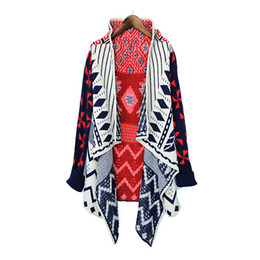 Wholesale Cheap Long Cardigans - Wholesale-Feminino Knitted Sweater Cardigans 2016 Winter Style Geometric Pattern Women Sweaters Cardigan Cheap Poncho Clothes China