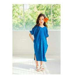 Wholesale Korean Lanterns - Children casual dress 2017 Korean style girls cotton loose puff sleeve bows ribbon long princess dress kids holiday clothing C0406