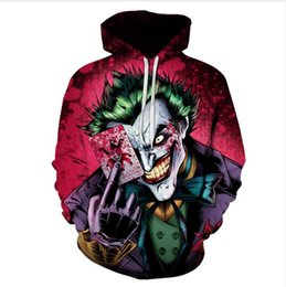 Wholesale Poker Designs - 2017 New Design Womens Mens Hip HOP Joker Poker Funny 3D Print Casual Pullover Hoodies Plus Size LMS2017.9.07