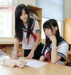 Wholesale Sexy School Girl Uniforms - Wholesale-Cosplay Japanese School Girl Students Sailor Uniform Dress Sexy Anime Costume T-Shirt + skirts