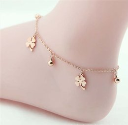 Wholesale Rose Plant Leaves - Crystal Daisy Lucky Four Leaves Clover Charm Multilayer Sexy Foot Bracelet Leg Chain Women Titanium Stainless Steel Rose Gold Fashion Ankle