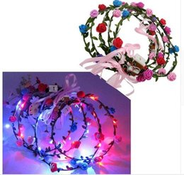 Wholesale Flower Wreath Tiara Wholesale - 100pcs Flashing LED Tiara Headbands Boho Flowers Hairband Hawaii lei Headwear Glowing Head Wreaths for Girls Women