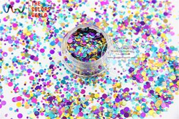 Wholesale Glitter Mixes For Nails - Wholesale- RA321-174 Mix Colors Dot shapes round Glitter for nail art ,nail gel,makeup and DIY decoration