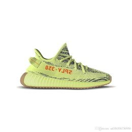 Wholesale Floor Double - Original Boost 350 V2 Semi Frozen Yebra Yellow Running Shoes Fluorescence Sneakers 350 Boost V2 Kanye West With Double Box 2017 Newest Relea