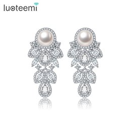 Wholesale Statement Stud Earrings - LUOTEEMI New Luxury Simulated Pearl Waterdrop Statement Brincos White Gold Color Tiny Zircon Drop Earrings for Women Jewelry