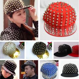 Wholesale Punk Snap Back Hat - Adjustable Punk Flat Snapbacks Hats Hiphop Hip Hop Snapback Snap Back Hats Caps Baseball Design Rivet Hat Cap for Men Lover Valentine DHL